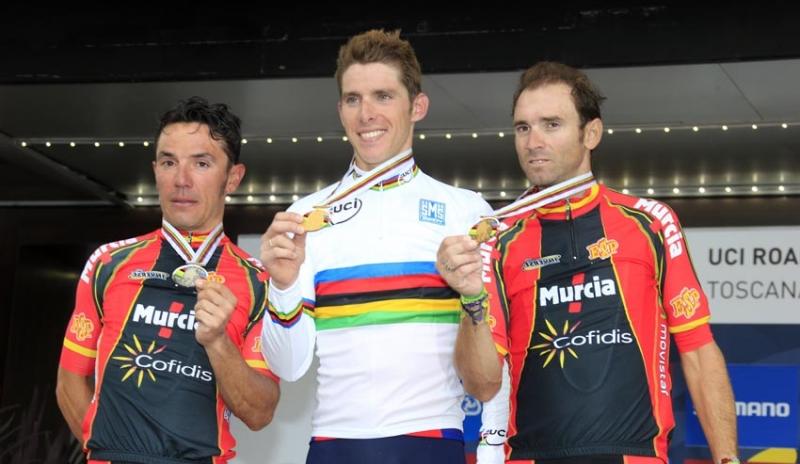 Podio Mundial ciclismo Florencia 2013, Purito Rodriguez Alejandro Valverde